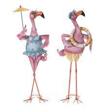 sunjoy eccentric pink flamingo garden statue 110301018