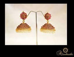 Buy Alankruthi Pearl Necklace Set Buy Alankruthi New Gold Temple Jhumkas 8 Online