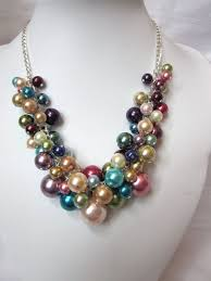 colored necklace images Pearl cluster necklace of multi color rainbow colored pearls jpg