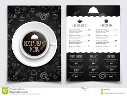 template a4 menu for restaurant or cafe black design with