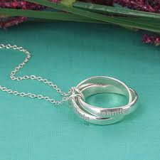 sterling silver rings necklace images Personalized couples interlocking rings necklace in sterling silver png
