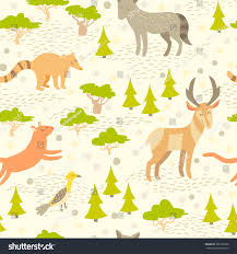 North America Forest Map by North American Cute Animals Seamless Pattern Stock Vector