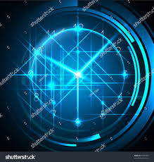 Futuristic Clock Abstract Blue Background Clock Great Business Stock Vector