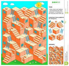 leitern fã r treppen spiel des labyrinths 3d mit treppe und leitern vektor abbildung
