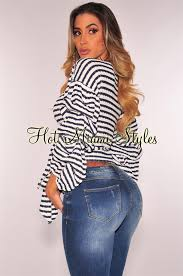wrap sweater top white navy striped knit ruched ruffle sleeves wrap sweater top