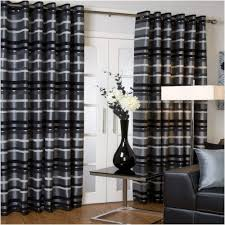 Silver Black Curtains Faux Silk Lined Eyelet Curtains Silver Grey Black 46x54 Co