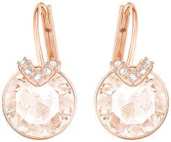 pink earrings v pierced earrings pink gold plating jewelry