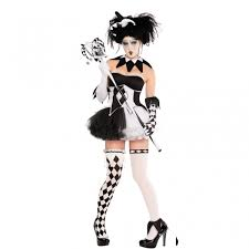 ladies halloween fancy dress costume harlequin tricksterina with