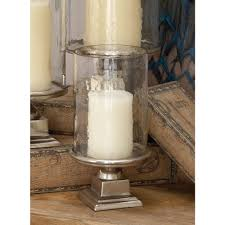 Hurricane Candle Holders 11 In Silver Aluminum Glass Hurricane Candle Holder 16493 The