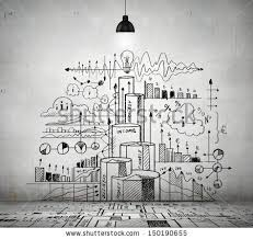 sketch drawing ideas on wall collage stock photo 150190655