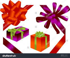 bows for presents various ribbons bows presents on white stock vector 19745023