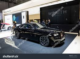 bentley wraith 2017 geneva 2017 rollsroyce wraith black badge stock photo 611438417