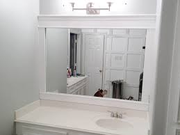 Framed Bathroom Mirror Bathroom Interior Elegant White Framed Wall Mirror Over Marble