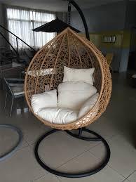 Swinging Ball Chair Outdoor Hanging Ball Chair White Cushion Brown Interior Secrets