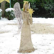 lighted christmas yard angels diy large crystal splendor angel outdoor christmas lighted