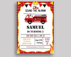 Printable Birthday Invitation Cards For Kids Firetruck Birthday Invitation Firetruck Birthday Party Invitation