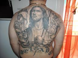 jesus devil n virgin mary tattoo on back for men tattoos book