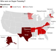 Us Election Results Map by Us Election 2016 Super Tuesday Results Bbc News