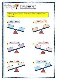 grade 3 maths worksheets 4 digit numbers 1 7 comparison of 4