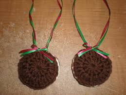free set of 2 handmade crochet oreo cookie christmas ornaments