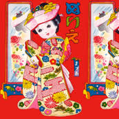 geisha fabric wallpaper gift wrap spoonflower