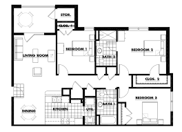 three bedroom floorplan 1 400 square feet recent 3 bedroom