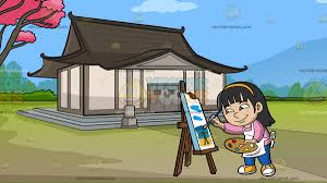a painting a seascape at a traditional japanese house cartoon