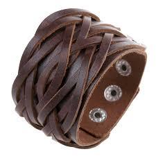 leather cuff wrap bracelet images Punk men 39 s wide leather bracelet vintage braided leather ropes jpg