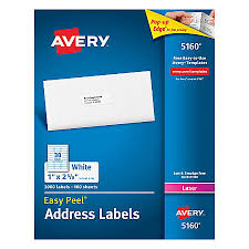 avery easy peel permanent laser address labels 1 x 2 58 white pack