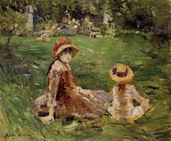 the monet family in their garden at argenteuil in the garden at maurecourt 1884 berthe morisot wikiart org