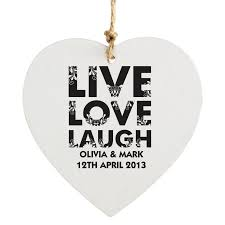 Live Laugh Love Signs Personalised Live Love Laugh Wooden Heart Decoration