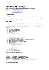 Wastewater Treatment Plant Operator Resume Regino B Antonio Jr Resume