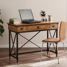 home office writing desk luther 2 drawer industrial writing desk w keyboard tray desks