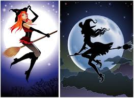 halloween witch on a broom vector free vector graphic resources