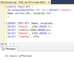 t sql insert into new table sql server return newly inserted row