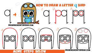 how to draw cute cartoon birds owls from lowercase letter q