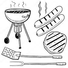 backyard barbecue or cookout objects sketch u2014 stock vector