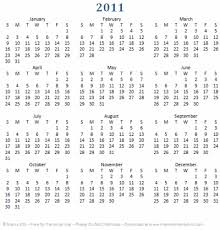 printable calendar year on one page printable calendar year at a glance 2011 one page calendar for 2011