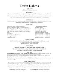 Theatrical Resume Directing Resume