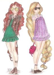 disney princess fashion merida and rapunzel by vianadrawings