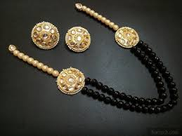 black necklace sets images Round kundan studs with black beads and pearls necklace set jpeg