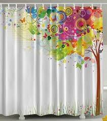 Colorful Fabric Shower Curtains Fashionable Design Amazing Colorful Tree Mosaic Art Waterproof