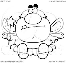 cartoon clipart of a black and white sitting male tooth fairy