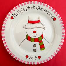 christmas plates personalised 1st christmas gift plate painted christmas