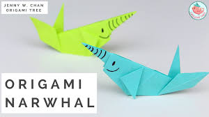 paper crafts origami whale paper narwhal tutorial youtube