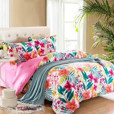 Flower Bed Sets Pink Teal And White Bright Colorful Tropical Flower Garden