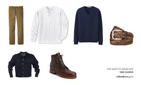 what to wear with light brown boots five ways to wear one tan khaki chinos effortless gent