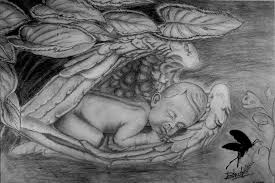 angel baby drawing by bhushan nayak