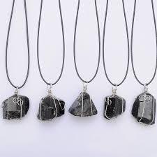 leather necklace pendants images Wholesale black tourmaline pendant necklace raw stone schorl jpg