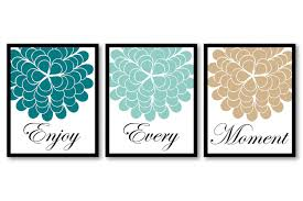 Teal Bathroom Decor by Blue Turquoise Green Teal Beige Tan Enjoy Every Moment Setof3